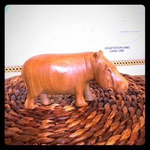 Hippopotamus hand-carved wood Kenya circa 1980